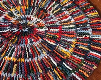 Runde Rag Rug moderne Kinderzimmer Orange Grau Teal Marineblau Gelb Grün Herbst kreisförmige Upcycled T Shirt 43 In Durchmesser enthalten--US-Versand
