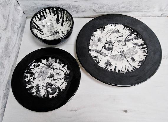 & Unique dinner set Hand Painted 3 Piece Bug Dinner plates