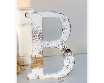 Rustic wooden Letter: Stand alone letter, Wedding reception decor, cake topper letter B - Hand painted