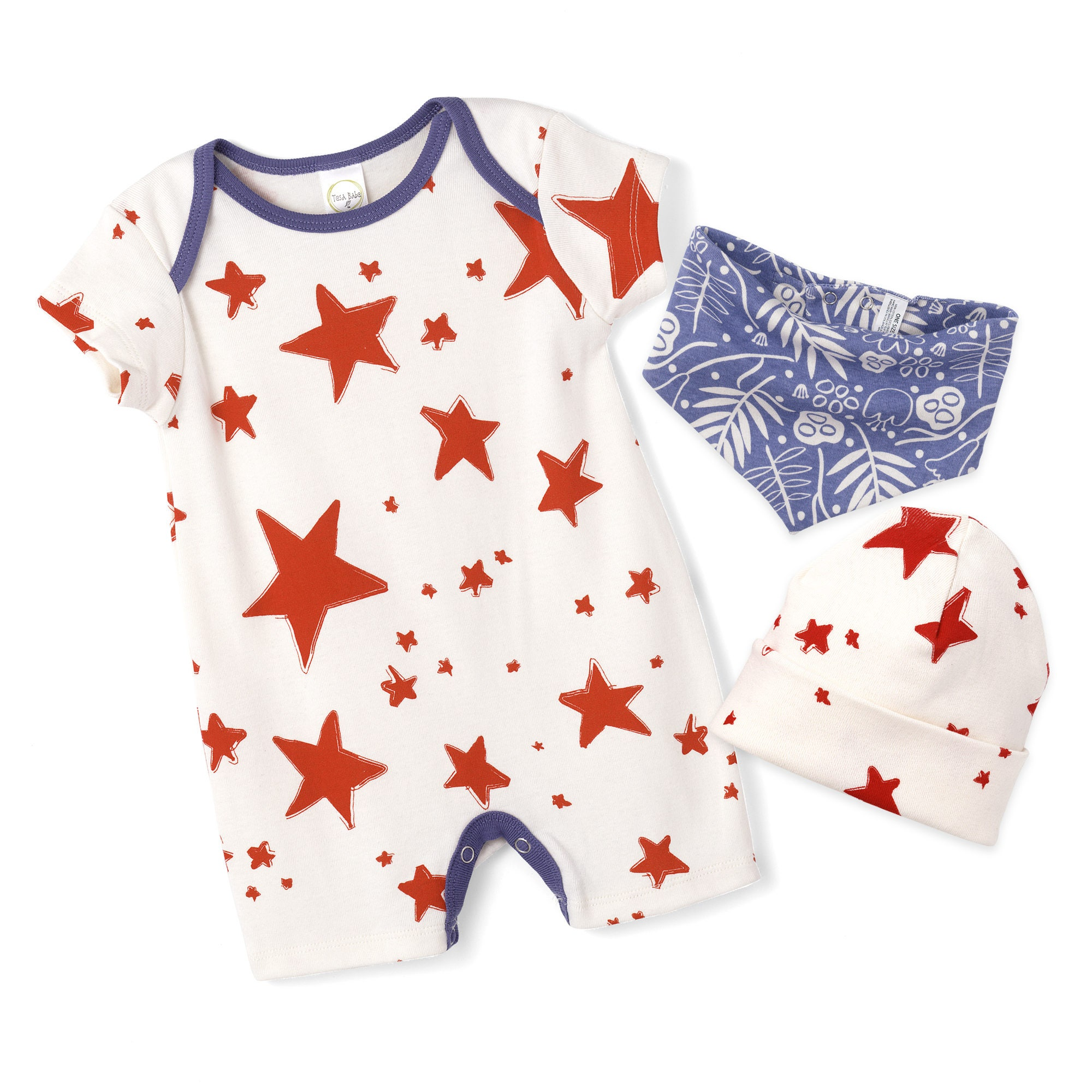 STAR SALE Newborn Baby 4th July Romper Baby Girl Red Stars Blue