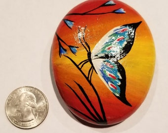 Hand painted Butterfly on a river rock
