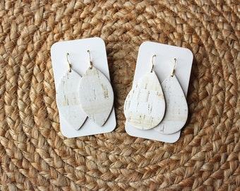 White Cork Leather Drop Earrings, petal earrings, cork earrings, the leather drop, white earrings, white cork leather