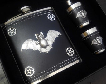 Steampunk flask and cup set - mens steampunk gift - steampunk bat flask- gothic flask - vampire flask - steampunk flask - steampunk - gothic