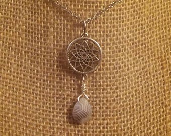 Dreamcatcher Necklace with Botswana Agate Teardrop
