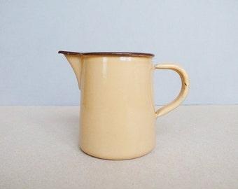 Vintage Enamel Milk Pitcher / Jug / Pot in Cream Mocha Color with Brown Lim