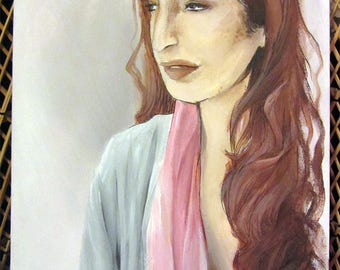 Portrait of a Disgruntled Girl in a Pink Scarf