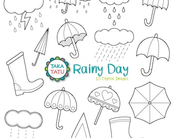 Rainy Day Digital Stamp Pack - Rain Clipart / Weather Clipart / Umbrella Clipart / Rain Digi Stamp / Weather Stamps / Doodles