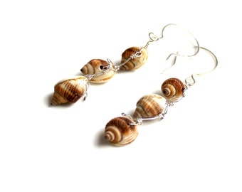 nutmeg waterfall earrings /  seashell earrings / sterling silver wire wrapped seashells.  Handmade shell gift