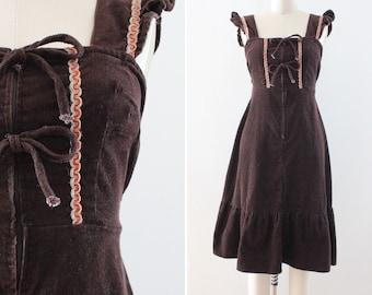 70s Boho Festival Dress - Prairie Hippie Peasant - Extra Small / Small - Empire Waist - Sleeveless - Corduroy - Brown - women's vintage