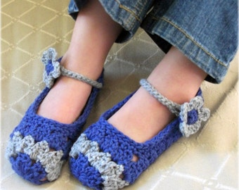 Download Now - CROCHET PATTERN Youth Flower Petal Mary Janes - Sizes 6.5 to 8.5 - Pattern PDF