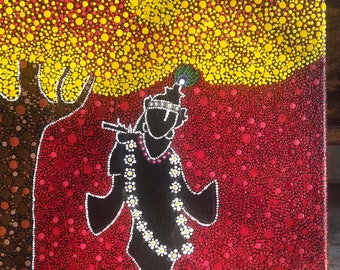Dot painting krishna- the eternal