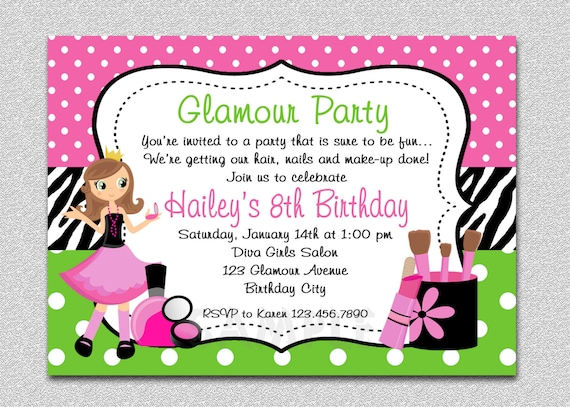 Glamour girl birthday spa invitation glamour girl birthday glamour girl birthday spa invitation glamour girl birthday party girls invitation spa invitation printable spa party mani pedi party filmwisefo Image collections