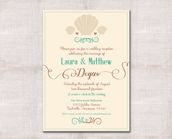 After The Wedding Party Invitations: Items Similar To Seashells Wedding Reception, Celebration