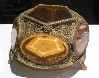 LARGE Antique Jewelry casket . Vanity Box - Ormolu jewelry Box . Footed Vanity Box  - Vintage Boxes