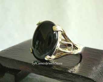 Black Onyx Handcrafted Statement Ring .925 Sterling Silver Jewelry SylCameoJewelsStore