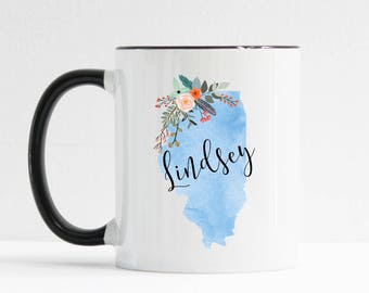 Illinois Mug / Personalized Mug / Custom State Mug / Friend Gift / Illinois Gift /  11 or 15 oz / Going Away Gift / Moving Gift