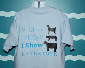 Custom Livestock Shower - Goat Lamb Cow shower T-shirt - Barn Hopper Shower Shirt - Show Barn T-shirt - County Fair Shirt - FFA 4H kid