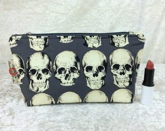 Handmade Zipper Case Zip Pouch fabric bag pencil case purse Alexander Henry Gothic Rad Skulls