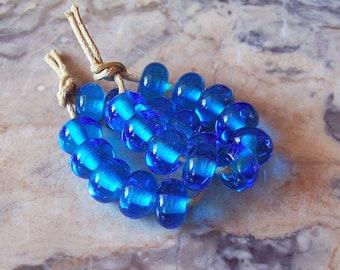 Aquamarine Lampwork Spacers (10 pcs) 8-8,5 mm x 5 mm. Aquamarine Lampwork Small Beads. Marine Theme Lampwork Beads. Aqua Color Glass Beads.