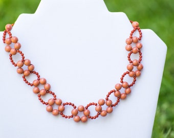 Coral Necklace, Beach Style Necklace, Flower Necklace, Beaded Coral Necklace, Choker Necklace, Coral Choker Necklace