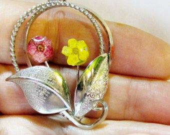 Bouquet, Real Flower Pendant,  Open Work, Real Flowers, Resin, Pressed Flower Jewelry(1295)
