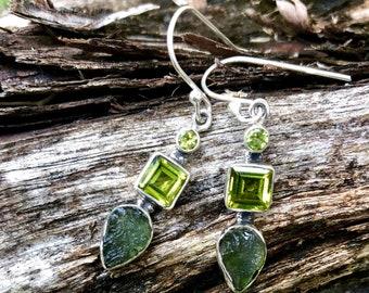 Moldavite and Peridot in Sterling Silver Drop Dangles