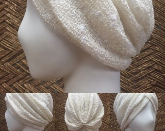 YOGA - Crochet Classic Turban (White Tantric Favorite) Eggshel White