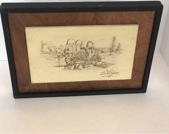 Sketch in graphite/pencil of western style covered wagon from 1970's framed.