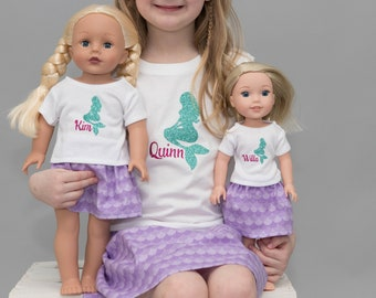 Matching Girl and Doll Clothes. Girl and Doll Matching Mermaid Outfit. 18in  Doll. 15in Doll. 14.5in  Wellie Wisher. Personalized Shirts