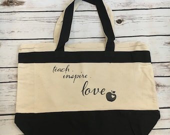 Teacher Tote Teach Love Inspire Gift For Teacher Gift From Student Teacher Gift Tote Bag Accessory Lightweight Tote Cute Bag