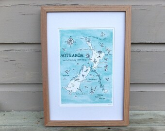 Aotearoa NZ vintage illustrated map print