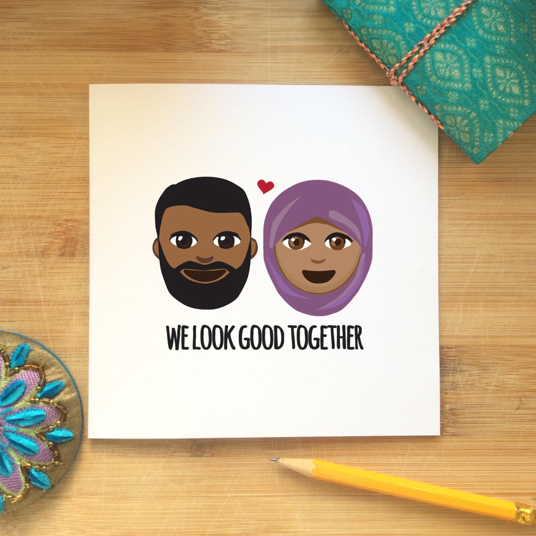 Islamische Liebeskarte - wir sehen gut zusammen, Jubiläum, Valentinstag, Liebe, Freundin, Freund, indische Themen, muslimische Paar, Emoji, ethnische