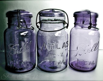 "Kitchen Photography, Country Kitchen Art, Old Mason Jar Photo, Nostalgic Purple Rustic Print, Shabby Cottage Farmhouse- ""Purple Trio"""