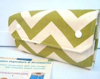 Cash Envelope Wallet  / Dave Ramsey System / Zipper Envelopes - Chevron Zig Zag Pick Your Color - Olive & Natural