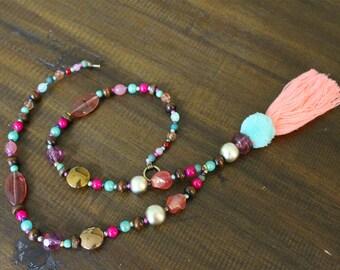 boho tassel necklace -  beaded tassel necklace - hippie necklace - statement necklace - coral tassel necklace - unique necklace - boho style