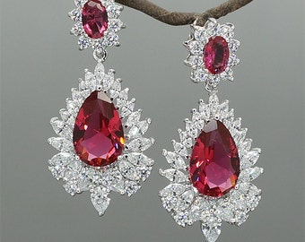Red Crystal Earrings for Wedding Mother of Brides Jewelry Red Bridal Earrings Rhinestone Drop Earrings Gift for Her