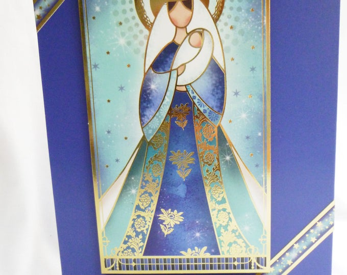 Mary and Baby Card, Traditional Christmas Card, Greeting Card, Nativity, Blue and Gold, Male or Female, Any Age