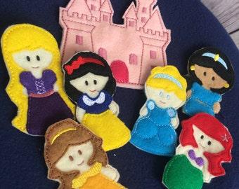Princess Finger Puppet Set, Princess Castle Busy Bag Set
