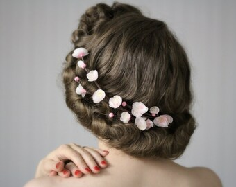 """Cherry Blossom Crown, White Garland Headpiece, Cherryblossom Fascinator, Pink Flower Clip, Floral Hair Accessory - """"Spring's Sweet Kiss"""""""