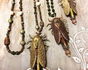 Cicada Pendant Necklace, Insect Pendant Necklace with Hand beading, Choice of Length,