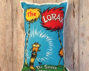 The Lorax pillow, Dr. Seuss softie, kids room pillow, toddler pillow, Dr. Seuss cushion, Lorax softies, Dr. Seuss plushy, Dr. Seuss Lorax