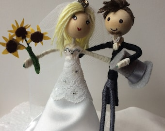 Bride and groom, cake topper customised, personalised to match your outfit