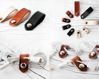 Leather Cord Organizers Travel Gift SET OF 3 Cord Organizers for Headphones and Power Cords - iPhone Lightning Charger Cord Keeper Holder