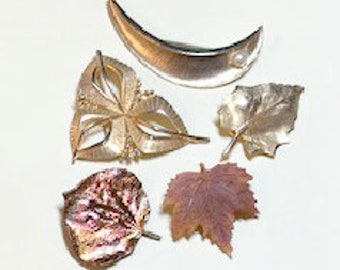 Lot of 6 vintage brooches, leaf and geometric brooches, vintage leaf pins, vintage pin lot, vintage brooch lot 1960s-80s