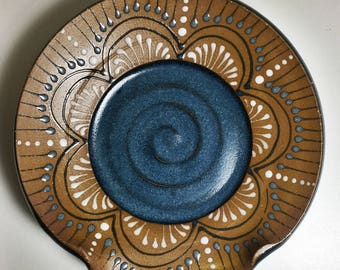 Teal Blue Ceramic Clay Pottery Stove-top Spoon Rest Utensil Holder Round Hand-thrown