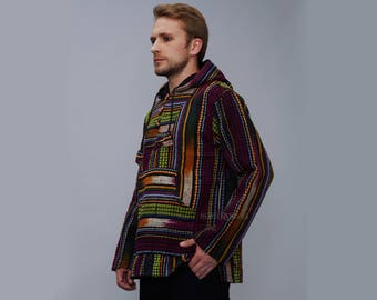 Baja Men's Hoodie – MexicanHippie Style Fabric Three Wooden Buttons