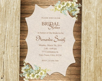 Rustic Bridal Shower Invitation, Flower Bridal Shower Invitation, Wood Bridal Shower, Country Western Invite, Elegant Bridal Shower
