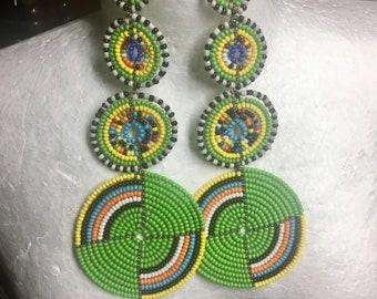 Green dangle & drop beaded statement earrings