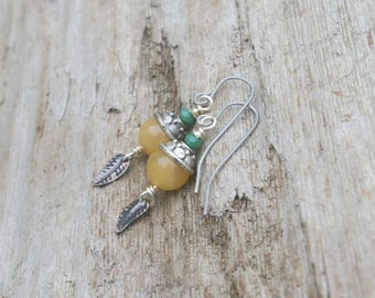 Yellow Calcite Earrings Gemstone with Leaf Dangle Earrings Stainless Steel Travelling Hope Renewal