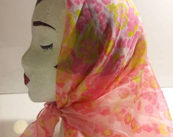 Large square sheer vintage scarf retro light pink with fuschia and yellow floral